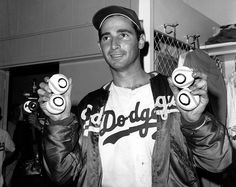 This Day In MLB History: 1961 - Sandy Koufax (Los Angeles Dodgers) struck out 18 batters becoming the first major-league pitcher to do so on two different occasions. Dodgers Baseball, Sports Baseball, Baseball Players, Sports Teams, Dodgers Nation, Baseball Pictures, Baseball Stuff, Football, Baseball Cards