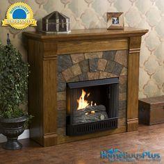 Elkmont Salem Antique Oak Gel Fuel Fireplace Media Tv Stand 42.  $479.99