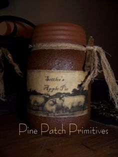 Grungy jar with sheep label in Settler's Apple Pie.... Yum.