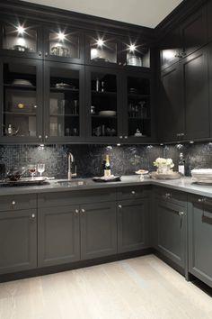 Kelly Deck Design: Gorgeous black kitchen design with oak wood floors, black shaker kitchen cabinets, gray ...