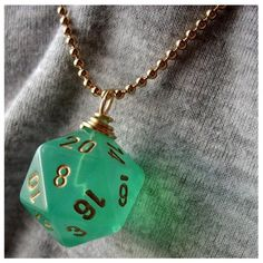 D20 Dice Pendant -  Light Green Borealis - Geek Gamer DnD RPG