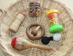 A basket filled with things that make gentle sounds. Here's what's inside: :: Glass jar filled with various beans :: One of the sound cyli. Montessori Toddler, Montessori Activities, Infant Activities, Dream School, School Fun, School Ideas, Heuristic Play, Treasure Basket, Baby Baskets