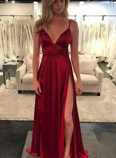 Sexy burgundy v neck long prom dress, burgundy