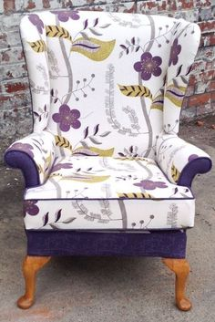 REUPHOLSTERED  PARKER KNOLL WING BACK CHAIR PURPLE FLORAL FY8 AREA CAN DELIVER