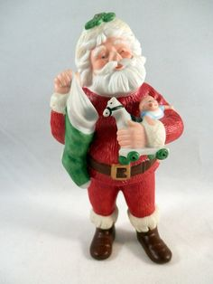 #Vintage Santa Claus Figurine Ornament - Hallmark 1986.  This little porcelain #ornament would look perfect on your #Christmas tree! Order today - https://www.etsy.com/listing/189754204/cloisonne-turtle-flower-figurine?ref=shop_home_active_13 #Santa #Holidays