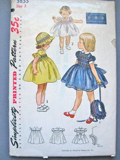 Vintage 1950s Pattern Simplicity 3833 for girls dress by Fancywork