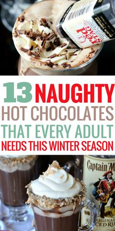 These hot chocolate recipes are absolutely AMAZING! There is nothing better than sitting down with a homemade hot chocolate in front of the fire. I am so excited to try these with the family this year! Recipes for adults and children. Pin this for later! Alcohol Chocolate, Spiked Hot Chocolate, Hot Chocolate Bars, Hot Chocolate Mix, Chocolate Liquor, Chocolate Cocktails, Best Hot Chocolate Recipes, Cocoa Recipes, Homemade Hot Chocolate