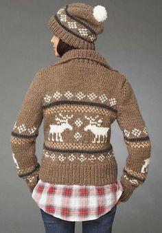c44363820c07 Ravelry  Reindeer Games (Jacket) pattern by Bernat Design Studio - free  pattern Cowichan