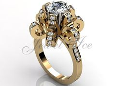 14k yellow gold diamond unique floral engagement ring by Jewelice