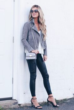 how to style leather leggings for date night - moto jacket and black heels on pinterestingplans.JPG