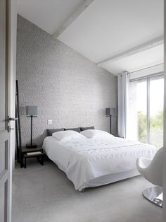 Engineered #stone #wall #tiles CISELÉ by ORSOL #bedroom #interiors #minimal #grey