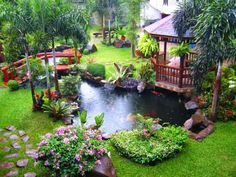Outdoor , Get Calm and Refreshing Outdoor Look Through Awesome Backyard Water Features : Luxury Backyard With Large Fish Pond Gazebo And Sma...