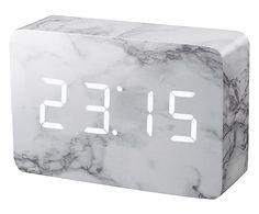 Orologio da tavolo a led in mdf Brick marmo e bianco, 15x10x5 cm