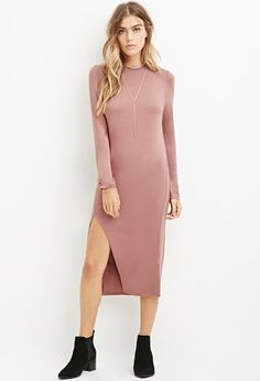Slit-Front Midi Dress | Forever 21  Add a white furvest and hight brown boots with this socks