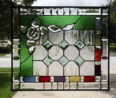 ":GARDEN:Beveled Stained Glass Panel -Signed & Numbered --25"" x 21 ½"" #Handcrafted"