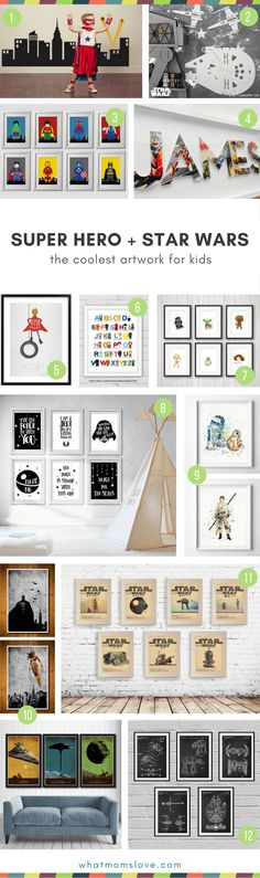 Unique gift ideas for kids who love super heroes and star wars | Cool artwork for kids room | Fun kids room decor #starwars #superhero #kidsroom