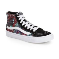 Vans 'Sk8-Hi Slim' Sneaker (€56) ❤ liked on Polyvore featuring shoes, sneakers, black multi canvas, black trainers, rubber sole shoes, vans footwear, canvas lace up sneakers and lacing sneakers
