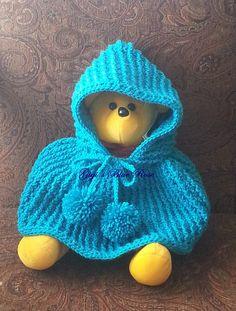 Crochet Baby Poncho with Hood/03 mos/ Ready to by GigisBlueRose