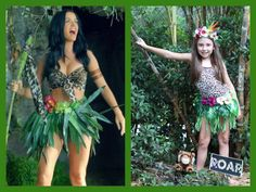 Katy Perry Roar costume- $5 shirt $5 in flowers and greenery hula skirt - had already. Headband - recycled. Hot glue and sewing.  sc 1 st  Pinterest & Childrens Katy Perry Roar Costume Jungle Tutu Green Forest Fairy ...