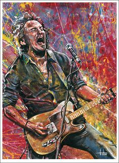 Professional Giclee fine art print reproduction from original oil painting of Bruce Springsteen by Tom Noll, the Boss of the e street band
