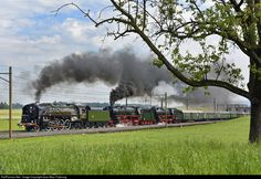 """Steam tripleheader: this was one of the most spectacular trains of the June 2015 Gotthard Steam Show. This triple header lasted only between Rotkreuz and Erstfeld. None of these engines saw any regular service in Switzerland, but who cares? After all, it was a magnificent show! Behind the French (American design, American built) 141R owned by the Swiss """"Mikado 1244"""" association are the German Pacific 01 202 from the Swiss """"Verein Pacific"""" association and her sister, German Pacific 01 150…"""