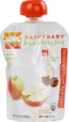 Happy Baby Organic Baby Food Stage 2 Apple and Cherry