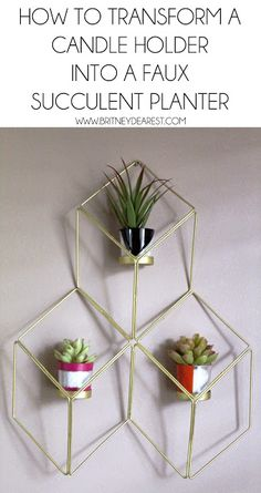 How To Transform a Votive Candle Wall Sconce into a Faux Succulent Planter. DIY Repurpose