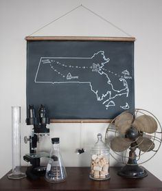 A chalkboard map in any state you want, oh the decisions. - Black Eiffel