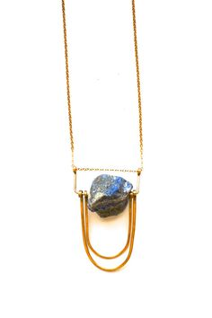 Land of Sky Necklace - Rugged Lapis Stone with Brass Accents