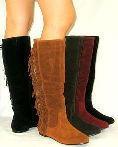 a1d67c981 Cherokee Indian Faux Suede Flat Moccasin Fringe Tassel Tall Knee High Boots  | eBay Casamento De