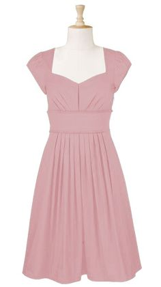 Plus size dress, pink with strategically placed pin-tucks and sweetheart neckline.