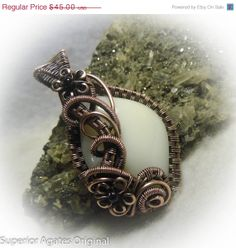 ON SALE White Common Opal Antique Copper Wire by superioragates, $38.70