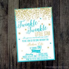 Boy Twinkle Twinkle Little Star Blue/Aqua Birthday by JaxDesigns27
