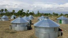 Homes for Haitians fashioned from steel Sukup grain bins made in Iowa.