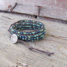 Chan Luu Style Beaded Leather 4x Wrap Bracelet