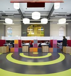 London designer Gavin Hughes created this primary school interiors with a palette of vibrant colors while working at London based practice Strategy Plus