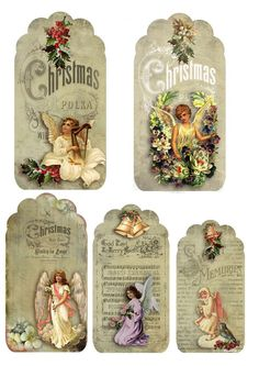 "Christmas labels for Handicraft work ""Female World Christmas Gift Tags, Christmas Paper, Vintage Christmas Cards, Christmas Images, All Things Christmas, Christmas Crafts, Christmas Wrapping, Vintage Tags, Vintage Paper"