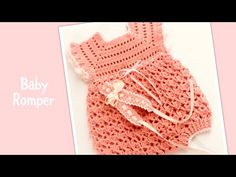 Crochet Bebe, Easy Crochet, Crochet Hats, Girls Rompers, Baby Rompers, Baby Girl Romper, Youtube, Left Handed, Crocheting