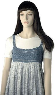 Crochet yoke with straps stitched to coordinating fabric creates a fabulous baby doll top.