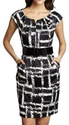 e206edb335 Sandra Darren Black White Cap Sleeve Swirled Print Work Office Dress Sz 8  1051