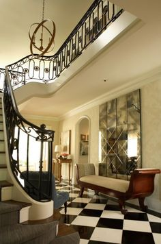 Entry hall. Dillard Design Group in Atlanta.....beautiful iron work