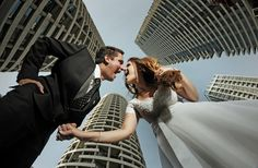 Interesting low angle city wedding photo (via Victor Vertsner) Engagement Shoots, Wedding Engagement, Our Wedding, Wedding Poses, Wedding Dresses, Falling In Love Again, Fun Shots, Photo Reference, Wide Angle