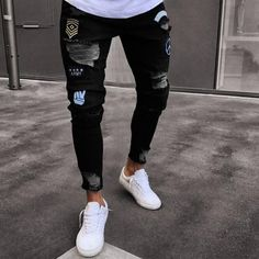 2018 Men Stylish Ripped Jeans Pants Biker Skinny Slim Straight Frayed Denim Trousers New Fashion skinny jeans men Clothes - lztees Ripped Jeans Men, Biker Jeans, Jeans Denim, Jeans Pants, Black Jeans, Jeans Fit, Jeans Women, Blue Denim, Harem Pants