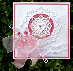 Craft Concepts Embossing Folder - In Stiches Spellbinder - Parisian Motifs S5-035 Spellbinders - Scalloped Borders One Nellie's Multiframe Stanzschablone - Kreis  Bosskut Ornament - Leaf Flourish 0728D