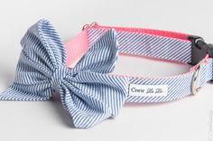 Blue Seersucker Girl Bow Dog Collar