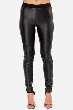 Cool Black Leggings - Vegan Leather Leggings - $54.00