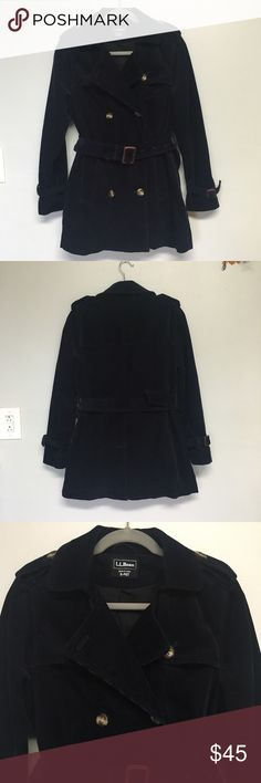 L.L. Bean Navy Blue Corduroy Pea Coat Such a classic, beautiful coat. Women's L.L. Bean Double Breasted Corduroy Peacoat, Navy Blue w/Front Tie Belt and 2 Lower Side Pockets.  Shoulder strap details and and buckles around the wrists. Gently used but good condition.  Chest: 21' across (armpit to armpit); Length: 28 inches from shoulder to bottom of coat. Make an offer!! L.L. Bean Jackets & Coats Pea Coats