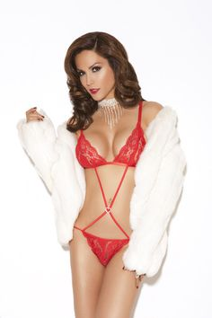 This delicious red Lace Teddy features a sparkly rhinestone heart which lies seductively on your tummy. The sheer lace top matches the tiny lace panty. This is a fun one piece addition to your lingerie wardrobe, as it's alluring yet classy. The color red looks great on every skin tone, and really sets a romantic mood.     Free Shipping!  Elegant Moments Lingerie #laceteddy #lingerie #redlingerie #lacelingerie