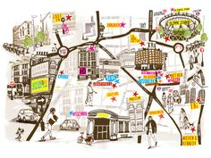 A map of advertising agencies in London for Campaign Magazine by British illustrator Sophie Joyce: http://www.sophiejoyce.com/