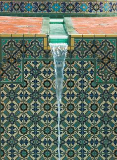 A tiled fountain at the Black residence.